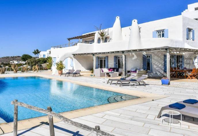 Best Luxury Holiday Villas in Paros, Poolside view of Villa Delion