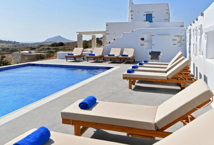 Best luxury Villas in Naoussa, Paros, The eco pool 6m.x12m. with view to the surrounding countryside and the sea.