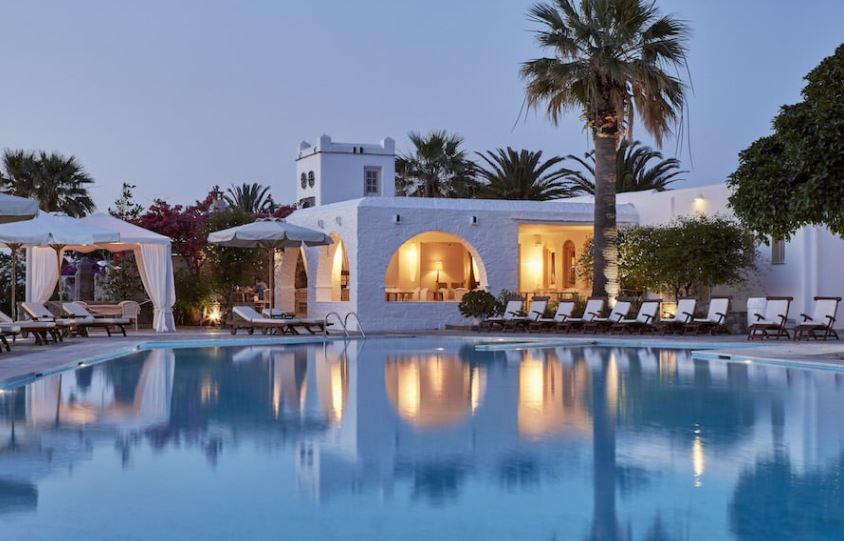 Best Luxury Hotels in Paros with Spa, best night pool view in hotel