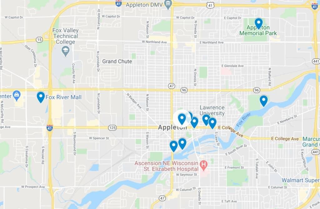 appleton wisconsin map