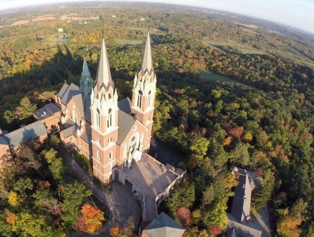 Cool  things to do in milwaukee, top view of holy hill church in milwaukee