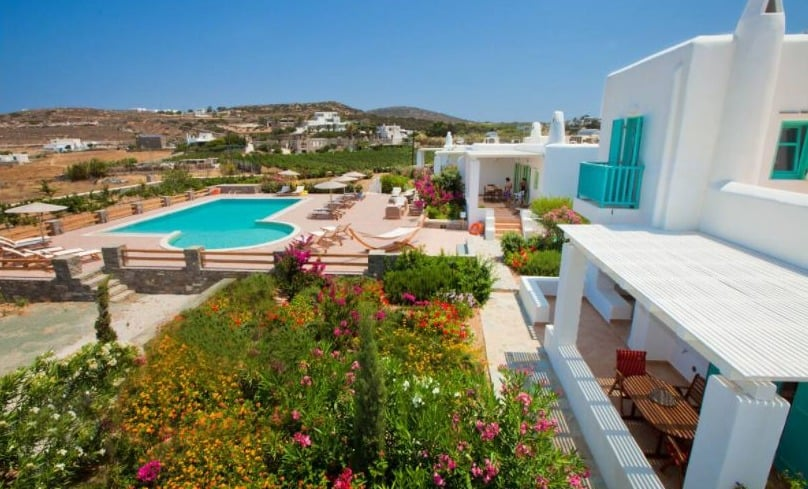 Amazing Villa Rentals in Paros, Greece, Night view of the complex. Villa Aliki is the second villa with an upper floor from the right