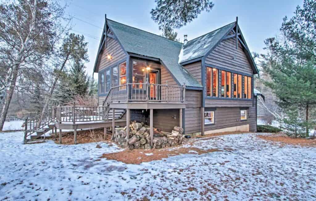 arkdale winter luxury cabin in wisconsin
