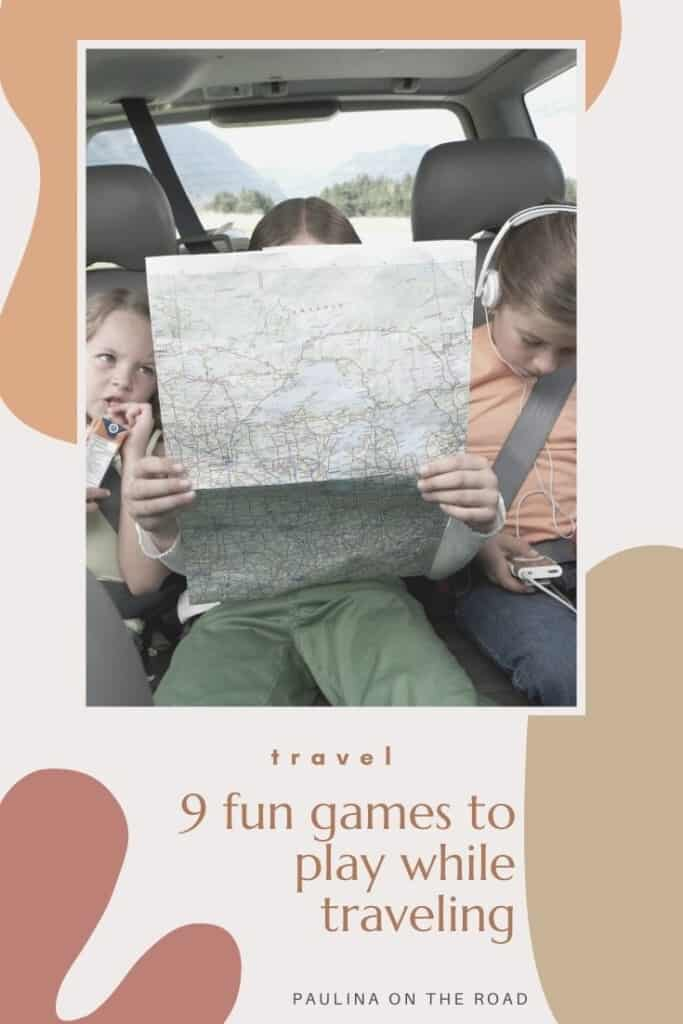 Are you looking for fun games to play while traveling? Or you are on a long road trip and you want to spend time in a playful way? Or eventually, the kids can't wait to arrive? Here you can find 9 top games to play while being on a road trip or while traveling. Some of these don't need any material, thus you can play them spontaneously on the road. Most of them are great ideas for kids too when looking for fun games to play while traveling. #travelgames #gameswhiletraveling #roadtrip #gamestoplay