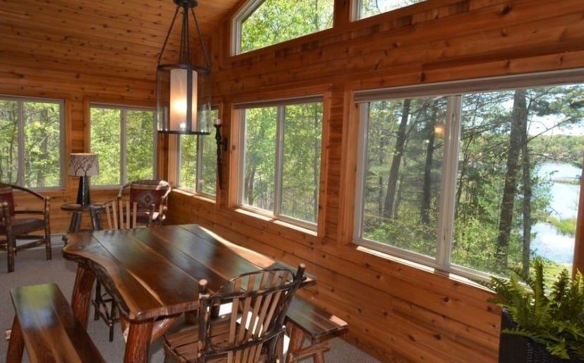Romantic winter getaways in wisconsin, View of Private Cabin on Upper Twin Lake – Hayward