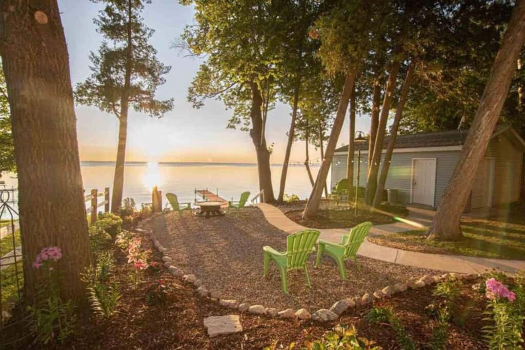best Airbnbs in Door County, WI, Lake view of cabin in door county wisconsin