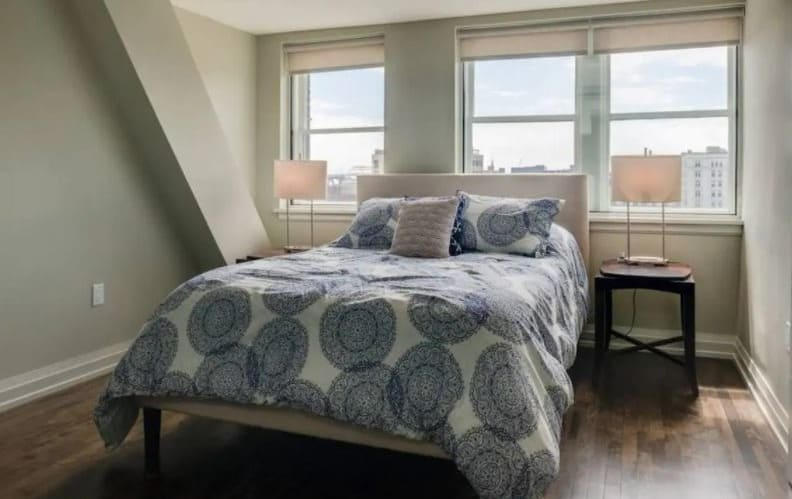 Best Airbnb in Milwaukee, Bedroom view of Penthouse with Free Parking