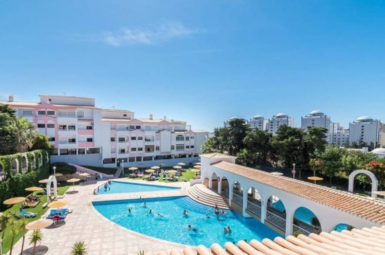 Best Airbnb in Algarve with Pool, Top pool side view of Praia da Rocha Apartment