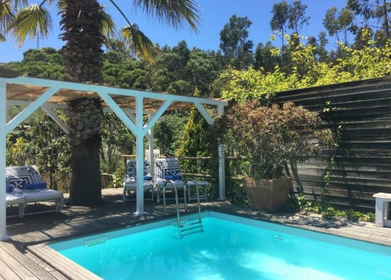 Best Airbnb in Algarve for Cabin Lovers, pool side with beautiful view of Casa eucalyptus