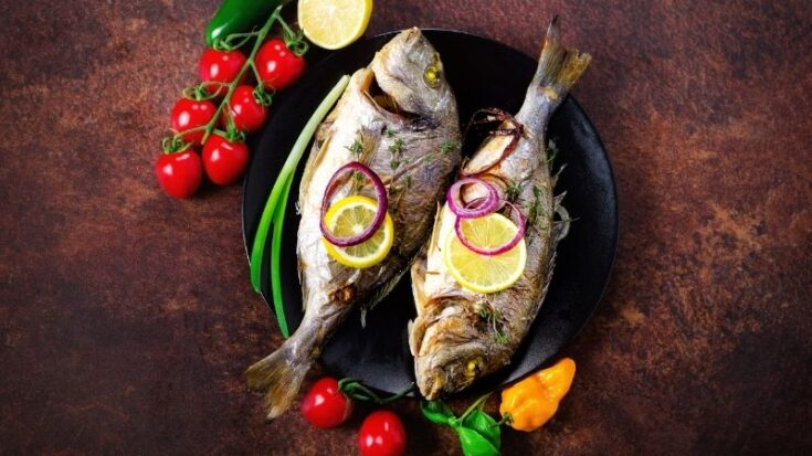 christmas traditions in spain, View of Baked Fish with herbs food