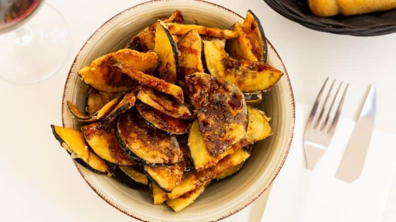 Spanish christmas food, Berenjenas con Miel food