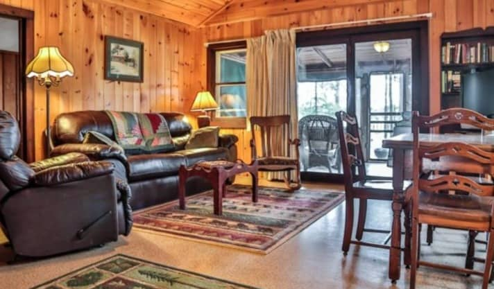 Winter getaways in Wisconsin for families, inside view of Birchwood Cabin at Black's Cliff Resort