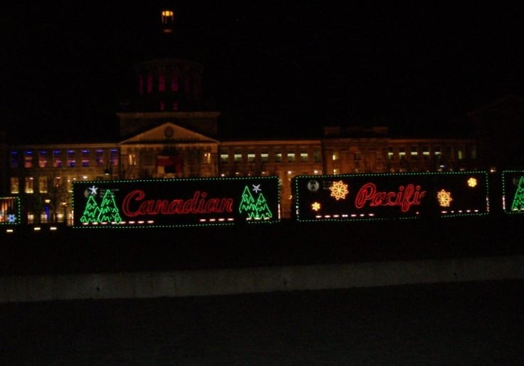 10 Christmas Towns in Wisconsin, view of Canadian Pacific Holiday Train