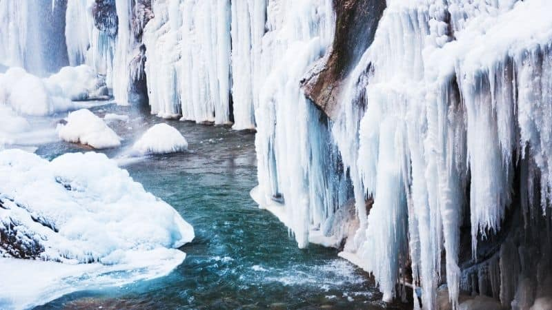 Wonderful Winter Getaways in Wisconsin, View of frozen waterfalls