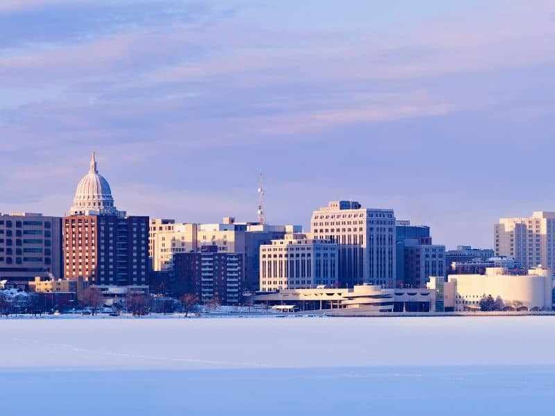 madison in winter, christmas towns in wisconsin
