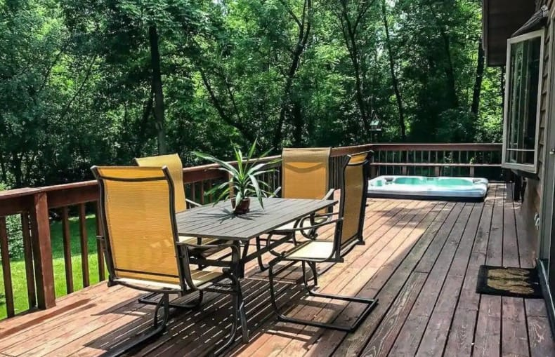 Best cabin with hot tub in southern Wisconsin - swimming pool area side of The Ready Cabin