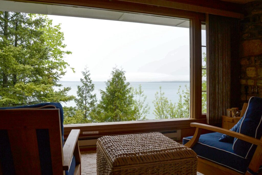 family vacations in wisconsin, view of lake from living room at gordon's lodge in bailey's harbor