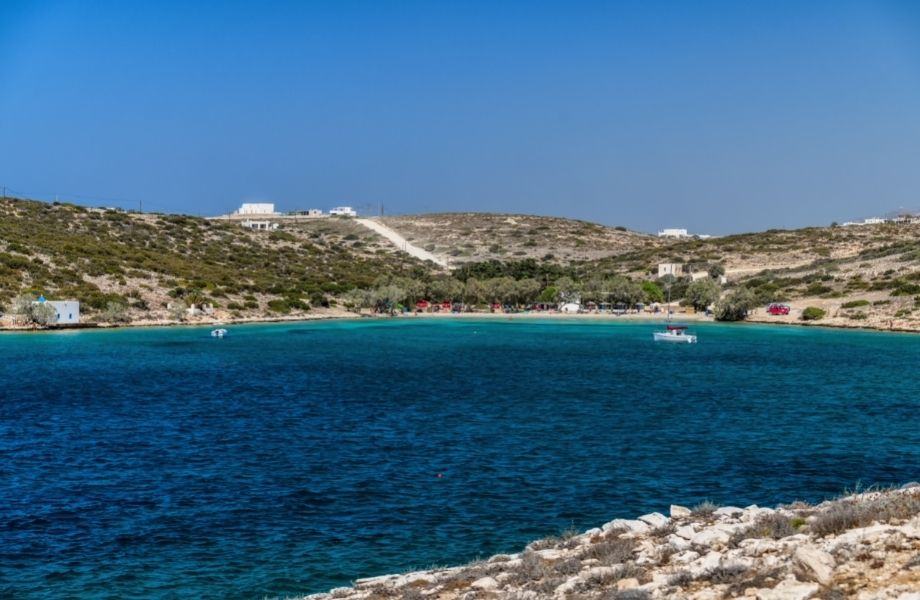 best beaches in Paros, boats on the water in the inlet of Agia Irini Beach