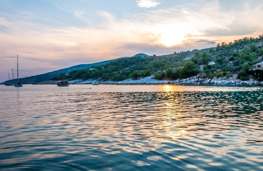 beautiful beaches on Paros Island, sunset on the beach at Aliki Paros