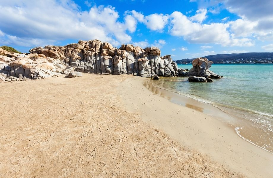 best beaches to visit in paros, rock formations on Kolymbithres Beach Paros