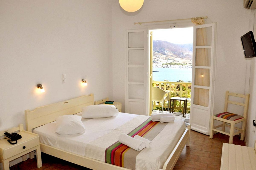 boutique hotel in Paros, double room with balcony overlooking water at Akrotiri Hotel Paros