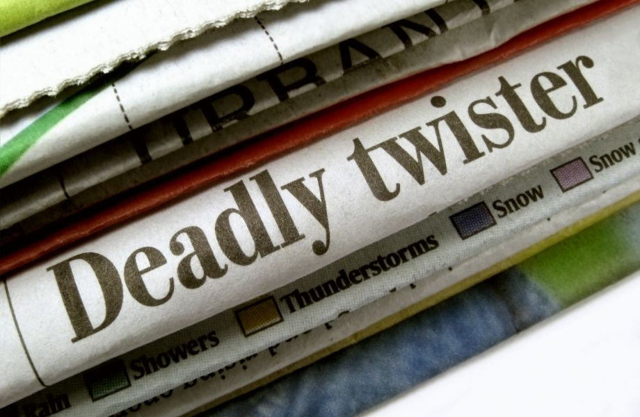newspaper heading reading 'Deadly Twister'; D.O.A. Room Escape, Wisconsin Dells has a fun twister room