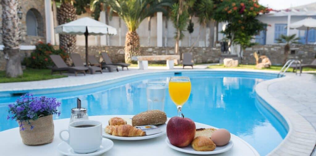 Best Resorts in Paros, breakfast spread near the pool at Galinos Hotel