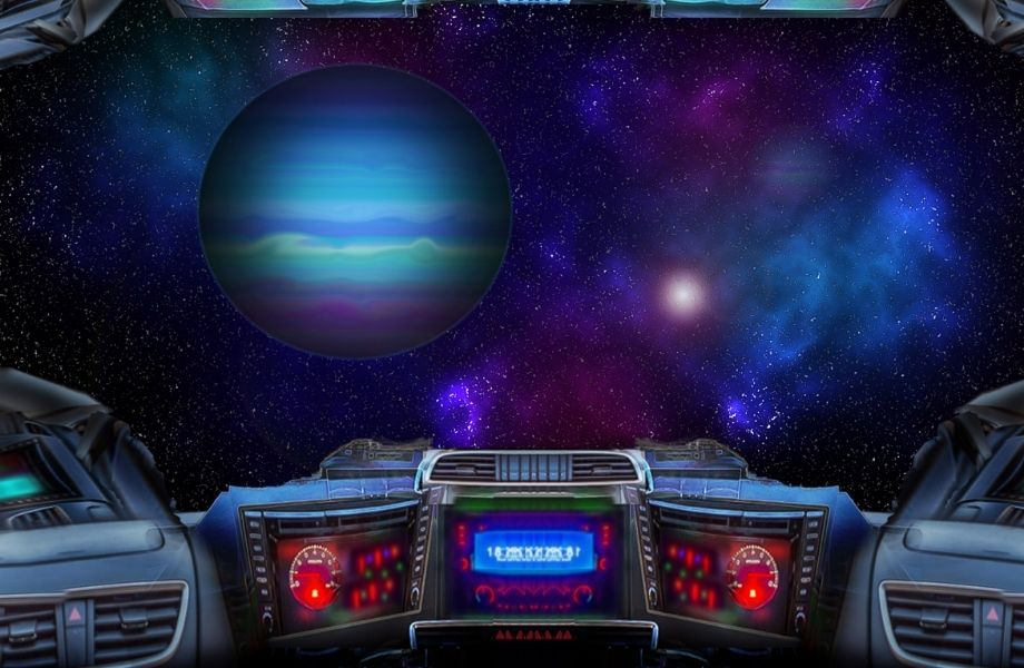 spaceship dashboard with galaxy out window; try to survive onboard a spaceship at the Dells Escape Room, Wisconsin Dells