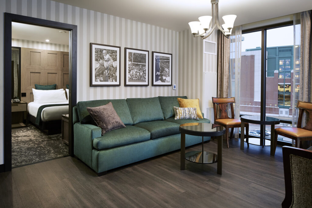 romantic spa resorts in Wisconsin, suite with living room and adjoining bedroom at Lodge Kohler