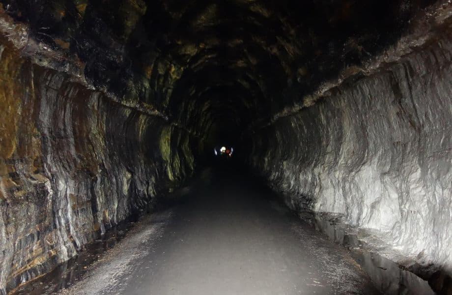 fun hiking trails near Wisconsin Dells, dark tunnel along The '400' State Trail