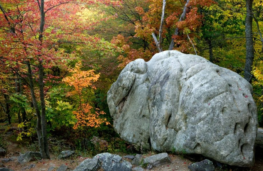 Fall hike in Wisconsin, large rock next to multicolored trees