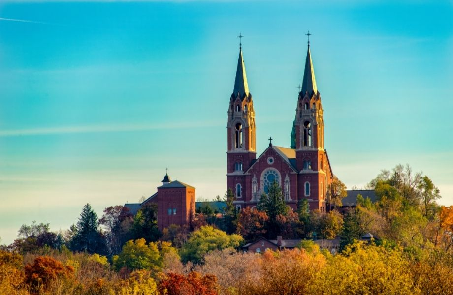 best places to see fall colors in wisconsin, Holy Hill National Shrine of Mary