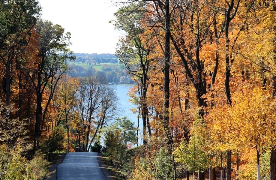 fall colors in WI, View of Lake Geneva in the fall