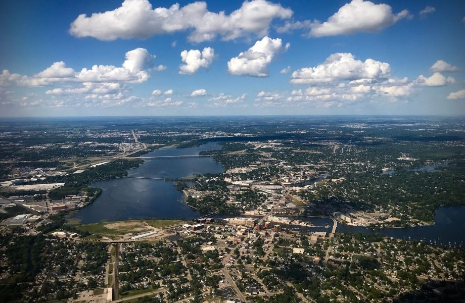 wisconsin lighthouse road trip, aerial view of Neenah, Wisconsin