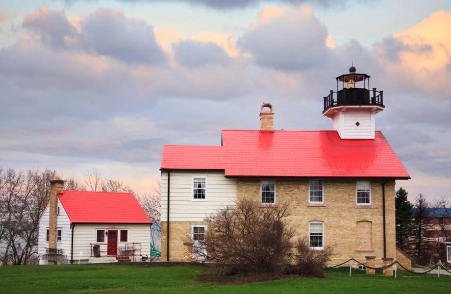 Beautiful Lighthouses on Lake Michigan, Port Washington Lighthouse at dusk