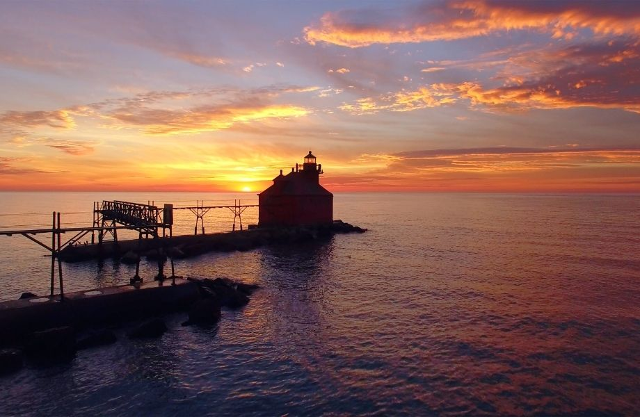 Beautiful lighthouses in Door County Wisconsin, Sturgeon Bay Lighthouse at sunset