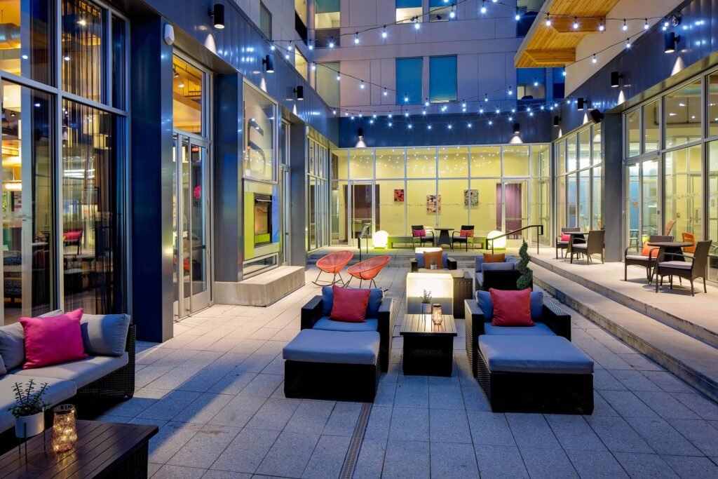 romantic resorts in green bay wi, outdoor seating area at Aloft Green Bay