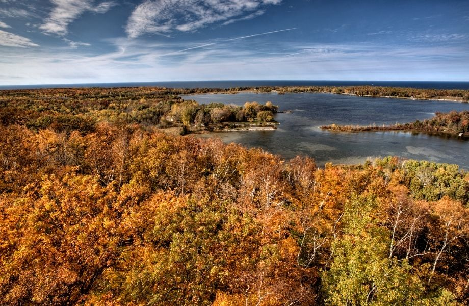 where to see fall colors door county, view of Potawatomi State Park