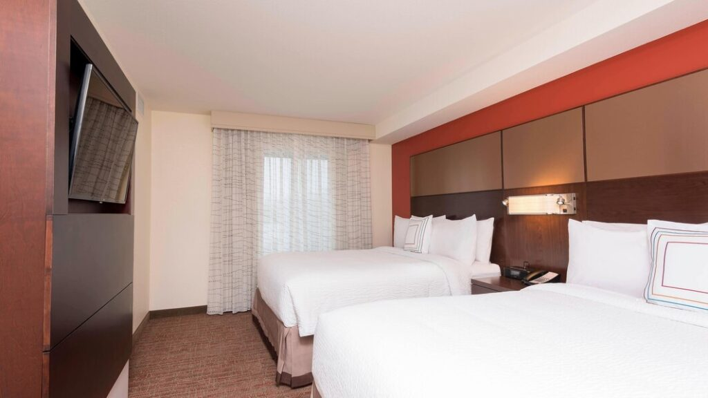 best resorts in green bay wi, two large beds and tv at Residence Inn by Marriott Green Bay Downtown