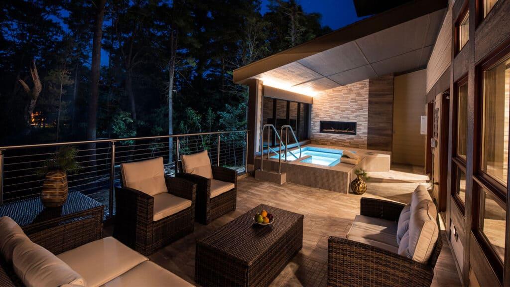 overnight spas in Wisconsin, lodging deck spa at Sundara Inn & Spa