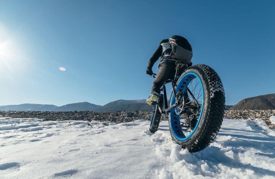 Door County winter getaways, person riding a fat tire bike