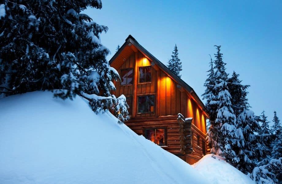 things to do in Door County in winter, wood cabin in winter