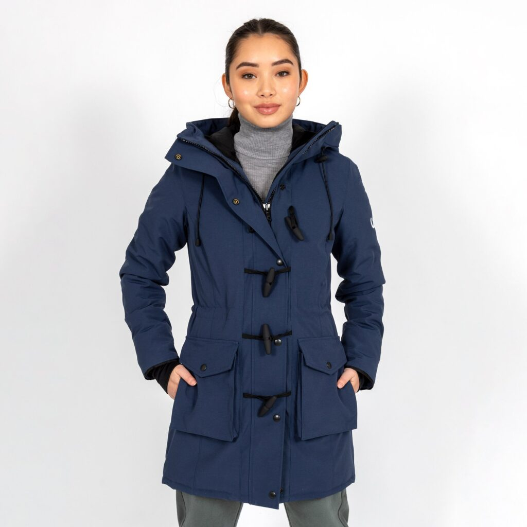 vegan winter coats for women and men, woman in long winter parka fro Wuxly